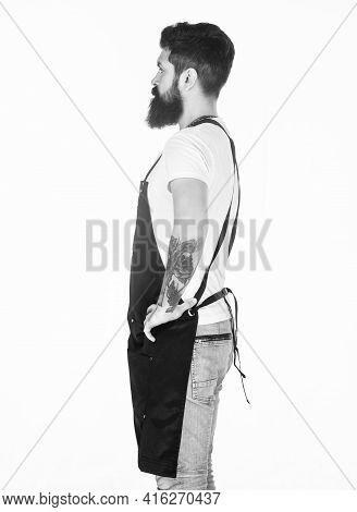 Fast Food Restaurant. Restaurant Staff. Waiter Or Bartender. Ready Serve Drink. Bearded Hipster Wear