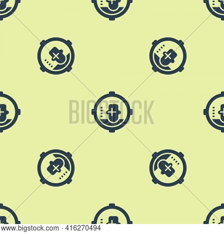 Blue Headshot Icon Isolated Seamless Pattern On Yellow Background. Sniper And Marksman Is Shooting O