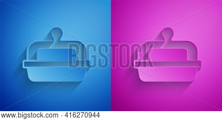 Paper Cut Butter In A Butter Dish Icon Isolated On Blue And Purple Background. Butter Brick On Plate