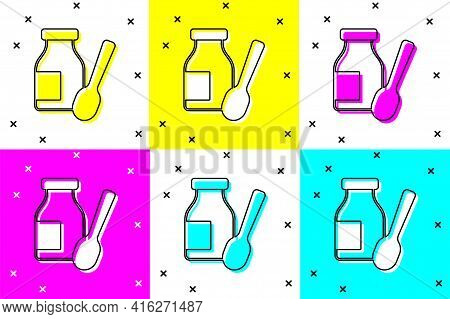 Set Drinking Yogurt In Bottle With Spoon Icon Isolated On Color Background. Vector