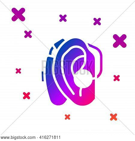 Color Hearing Aid Icon Isolated On White Background. Hearing And Ear. Gradient Random Dynamic Shapes