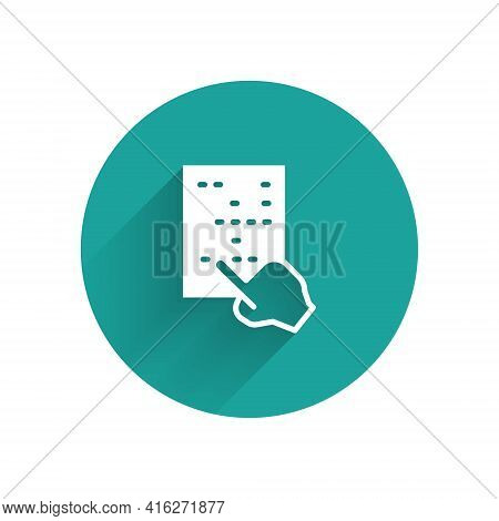 White Braille Icon Isolated With Long Shadow. Finger Drives On Points. Writing Signs System For Blin