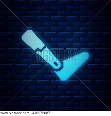 Glowing Neon Prosthesis Leg Icon Isolated On Brick Wall Background. Futuristic Concept Of Bionic Leg