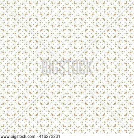 Golden Vector Seamless Pattern In Oriental Style. Subtle Gold And White Minimalist Geometric Ornamen