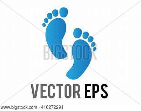 The Isolated Vector Gradient Blue Two Human Footsteps, Showing Both Feet, Including All Five Toes