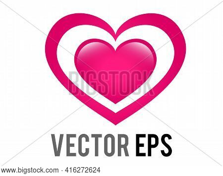 The Isolated Vector Glossy Pink Love Glowing Heart Icon, Intended To Give Impression Of Heart Increa