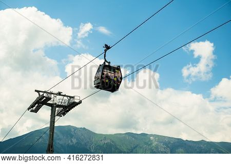 Cable Car Or Funicular In Bachledova Valley In The Sky. Bachledka Gondola Cable Way In Slovakia, Apr