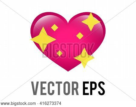 The Isolated Vector Glossy Pink Love Heart Icon With Sparkling Stars, Used For Expressions Of Shimme