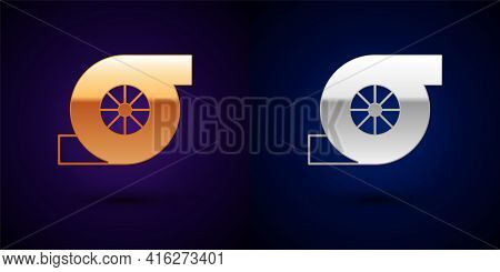 Gold And Silver Automotive Turbocharger Icon Isolated On Black Background. Vehicle Performance Turbo