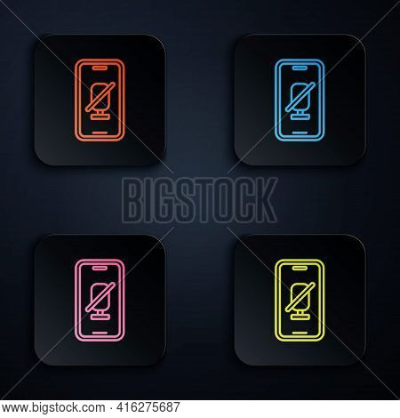 Color Neon Line Mute Microphone On Mobile Phone Icon Isolated On Black Background. Microphone Audio