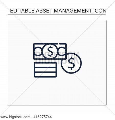 Financial Assets Line Icon. Enterprises Part Assets. Financial Resources. Cash, Securities, Debt.con