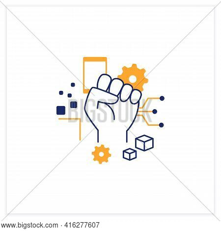Digital Revolution Flat Icon. Fist Up. Support Transition From Analog Technologies. Digital Transfor