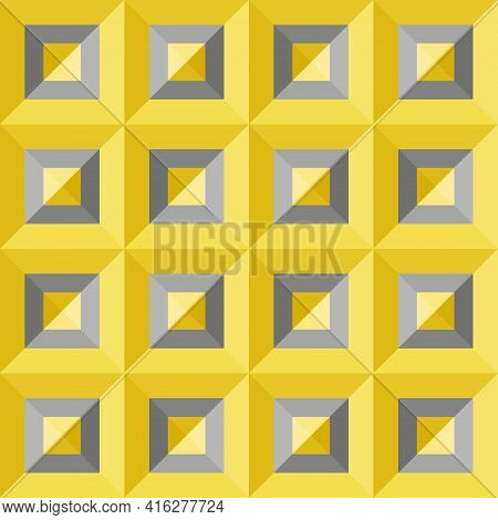 Seamless Abstract Pattern Background. 3d Gray Yellow Squares. Color Trend Of 2021. Textured Design F