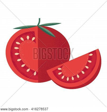 Red Tomato With Leaves And A Slice In The Style Of A Modern Flat With A Noisy Grunge Texture. Vegeta