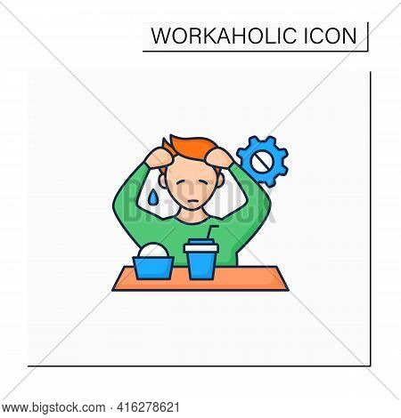 Workaholic Color Icon. Emotional Causes. Stressful Situation. Emotional Burnout Due To Work. Overwor