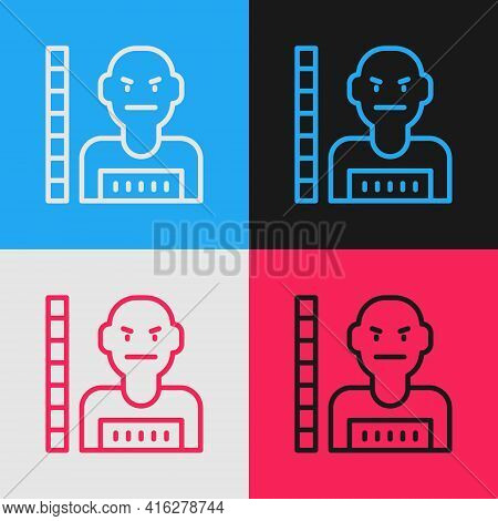 Pop Art Line Suspect Criminal Icon Isolated On Color Background. The Criminal In Prison, Suspected N