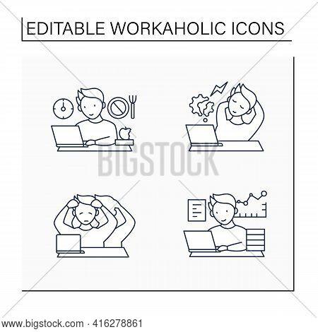 Workaholic Line Icons Set. Workaholism Prevention, Consequences. Depersonalization, Counterproductiv