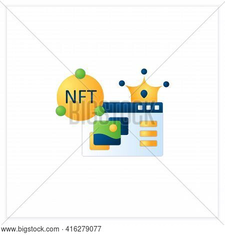 Nft Supermarket Flat Icon.ability To Buy Non Fungible Tokens. Assets Exist In Their Own Cryptosystem
