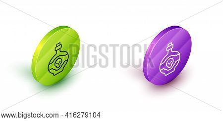 Isometric Line Poison In Bottle Icon Isolated On White Background. Bottle Of Poison Or Poisonous Che