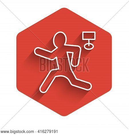 White Line Murder Icon Isolated With Long Shadow. Body, Bleeding, Corpse, Bleeding Icon. Concept Of