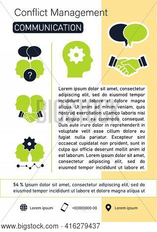 Conflict Management Brochure. Communication Template. Flyer, Magazine, Poster, Book Cover, Booklet.
