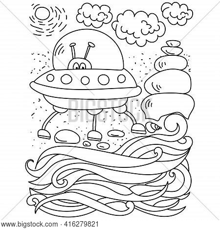 Ufo With An Alien On The Seashore, Coloring Page With An Aircraft On The Seashore Vector Illustratio