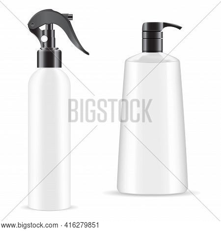Hand Spray Bottle. Soap Pump Dispenser Mockup. 3d Vector Package With Trigger, Pistol Spray Containe
