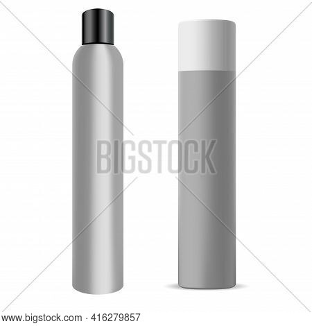 Hair Spray Bottle. Chrome Deodorant Can, Hair Aerosol Cylinder Mockup. Aluminium Hairspray Container