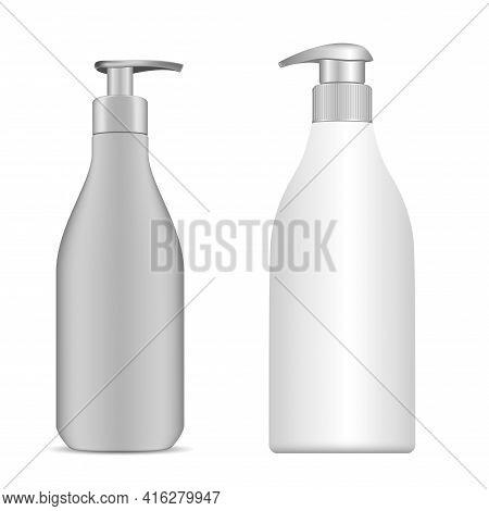 Hand Sanitizer Bottle. Cosmetic Shampoo Pump Bottle. Liquid Soap, Gel Container. Face Lotion Beauty