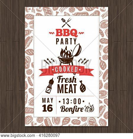 Bbq Party Promo Poster With Fresh Grilled Meat Elements Vector Illustration