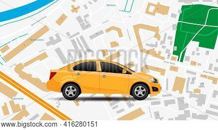 Taxi Car Vector App. City Map Gps Location, Top Vew. Car Rent Mobile Service, Internet Banner. Moder
