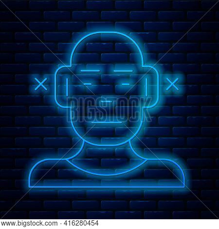 Glowing Neon Line Deafness Icon Isolated On Brick Wall Background. Deaf Symbol. Hearing Impairment.