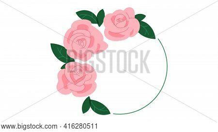Round Composition Of Roses And Decorative Ring. Three Delicate Pink Roses With Leaves. Modern Vector