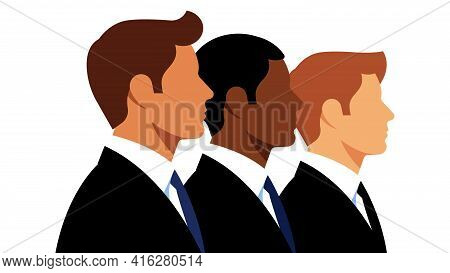 Businessmen In Suits. Three Young Men In Elegant Black Suits. The Concept Of Teamwork, Business, Sto