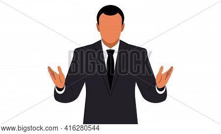 Speaker. A Man In A Suit Makes A Speech. Businessman Or Politician In Orator Pose. Vector Illustrati