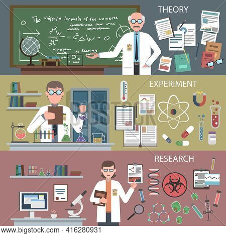 Science Horizontal Banner Set With Theory Experiment Research Elements Isolated Vector Illustration