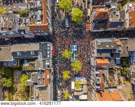 Aerial View Of Huge Crowd In Westerstraat On Koningsdag Kings Day Festivities In Amsterdam. Birthday
