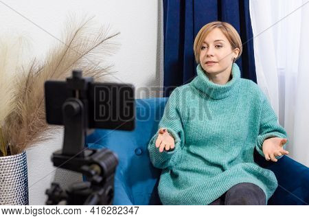 A Woman Teacher, Mentor, Psychologist Conducts An Online Consultation, Looks At The Camera Phone, Ta