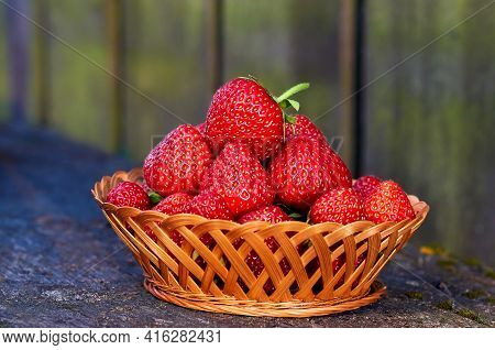 Fresh Strawberries In The Basket, Fruits On Farmer Market Table. Home Grown Strawberries In Wooden B
