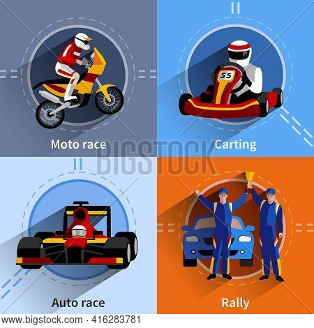 Racer Icons Set With Carting Rally Moto And Auto Race Symbols Flat Isolated Vector Illustration