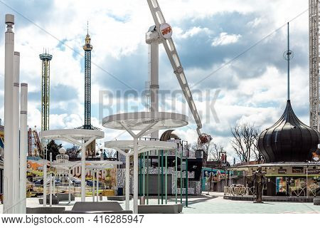 Wien - April 3, 2021: Empty Amusement Park Prater During Lockdown Due To Coronavirus