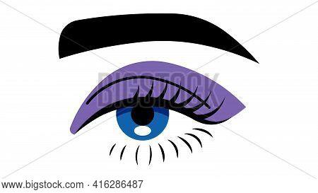 Beautiful Female Eye. Makeup, Eyelashes, Eye Shadow, Look, Beauty, Care, Eye Cream, Concealer. Vecto