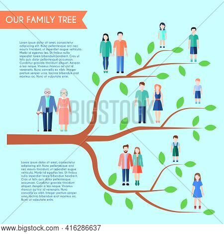 Flat Style Family Poster With Horizontal Tree Human Figures And Text On Transparent Background Vecto