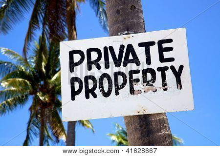 Private Property Sign On A Beach On Malapascua Island, Philippins
