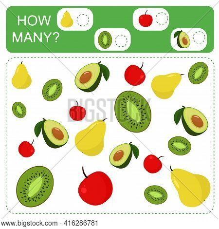 Educational Counting Math Game For Preschool Children. Count The Number Of Avocados, Pears, Apples A