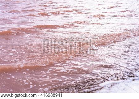 Texture Of Water, Pink Lake. Waves Close Up. A Unique, Salty Natural Phenomenon. Sasyk Sivash Crimea