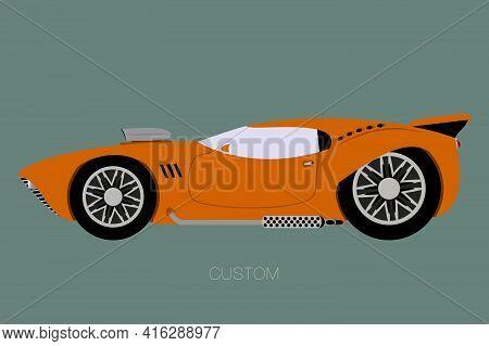 Custom Supercar Flat Design, Fully Editable, Vector Illustration
