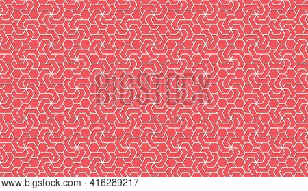 The Geometric Pattern With Lines. Seamless Vector Background. White And Pink Texture. Graphic Modern