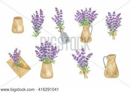 Lavender Flowers, Bouquet, Vintage Jar Arrangements Set, Symbol Of French Provence Region, Summer An