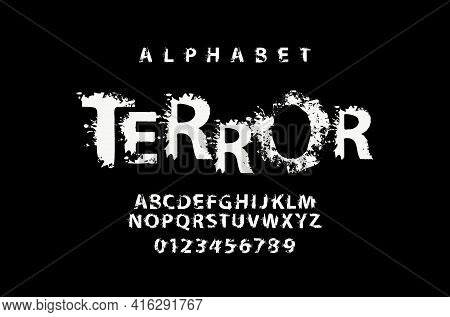Terror Lettering In Abstract Letters With Spots. Grunge-style Splash Alphabet, Vector Set Of White A
